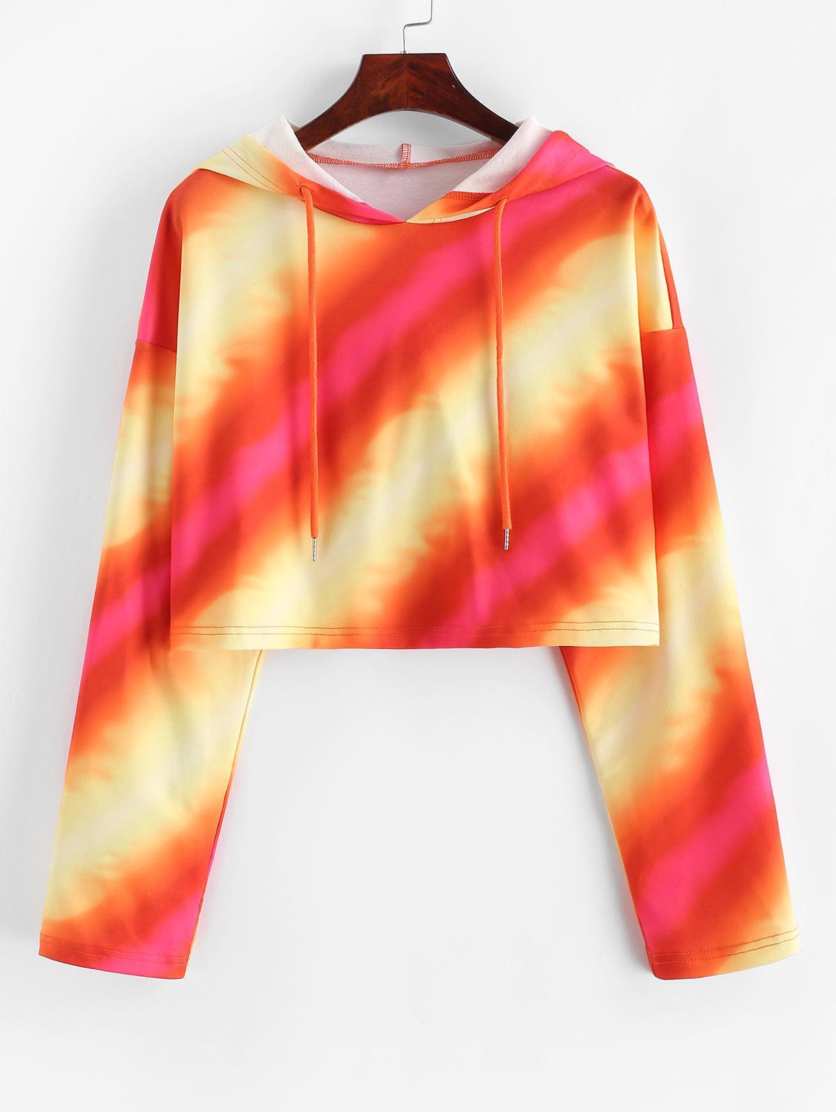 ZAFUL Tie Dye Stripe Print Cropped Hoodie