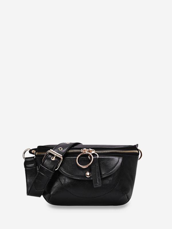 PU Chain Zipper Solid Crossbody Bag