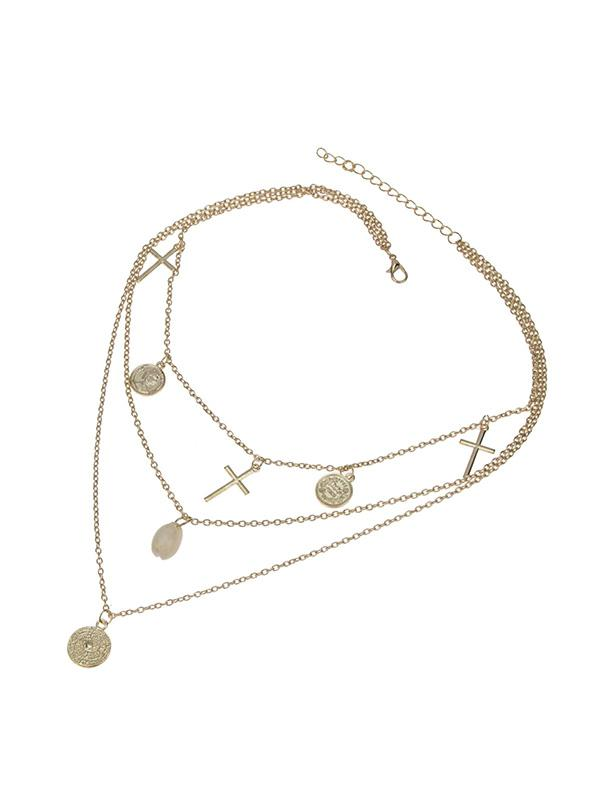 Alloy Three Layer Cross Disk Cowrie Shell Necklace
