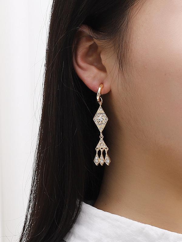 Rhinestone Geometric Shape Drop Earrings