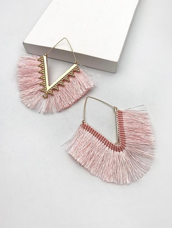 Geometric Fringed Dangle Earrings