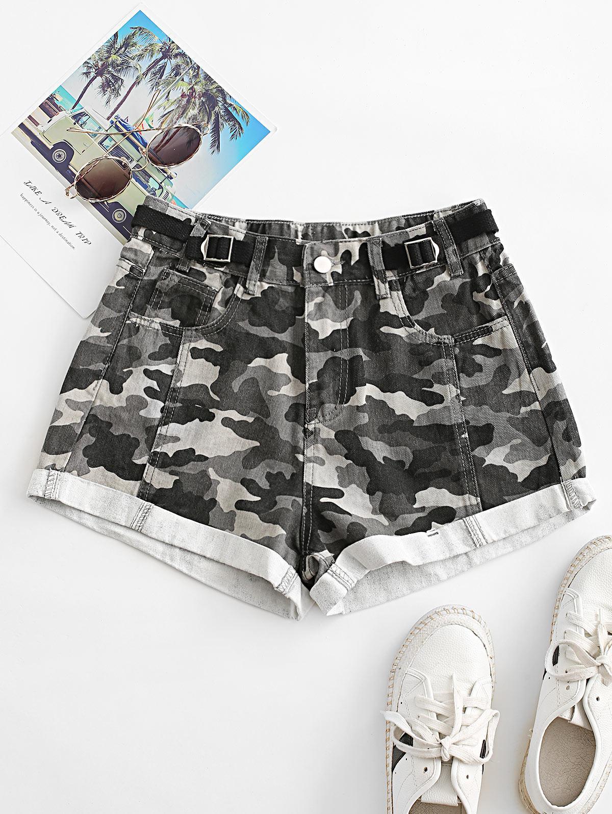 Camo Cuffed Hem Buckled Waist Denim Shorts