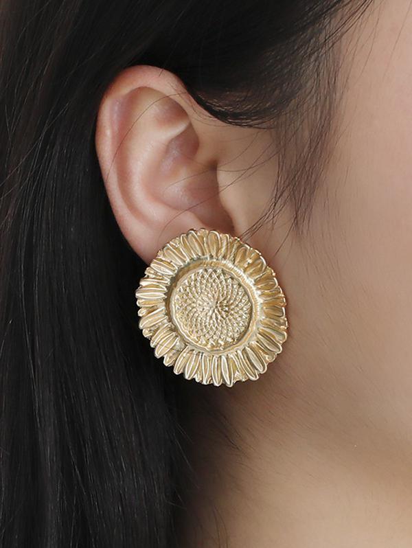 Embossed Sunflower Shape Clip Earrings