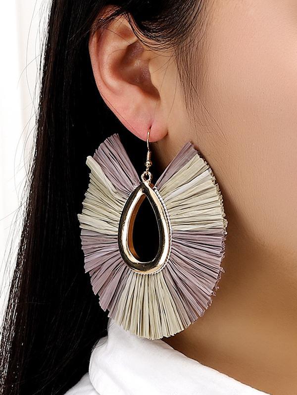 Water Drop Shape Fringed Hook Earrings