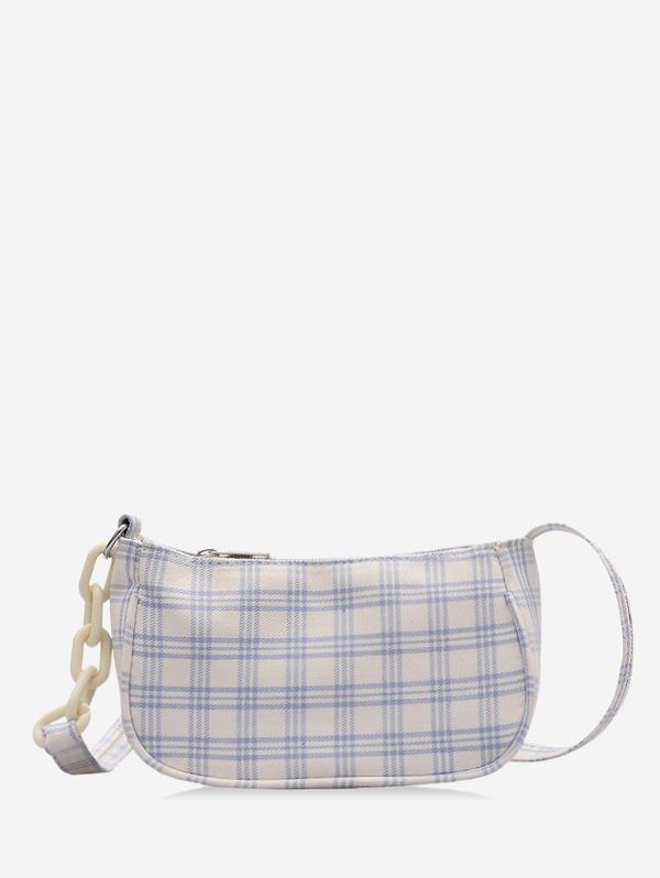 Plaid Printed Rectangle Shoulder Bag