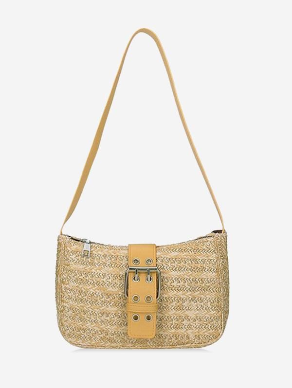 Straw Knitted Buckled Shoulder Crossbody Bag