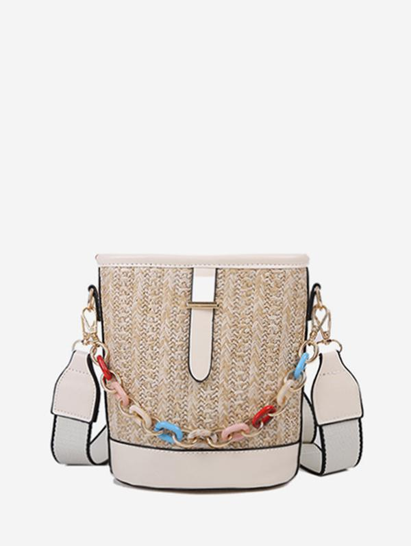 PU Retro Chain Decoration Bucket Crossbody Bag