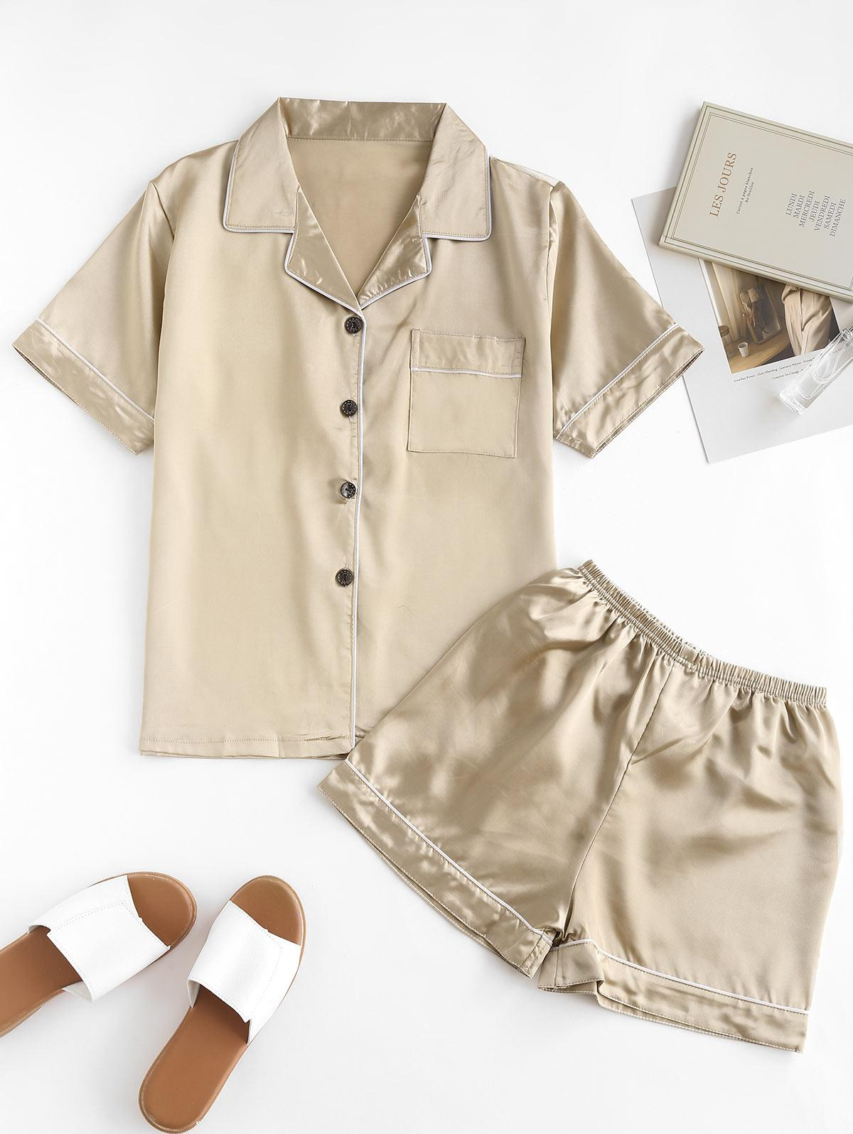 Short Stain Pajama Set with One Pocket