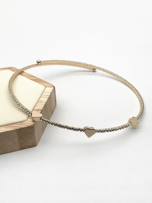 Heart Rhinestones Open Bracelet