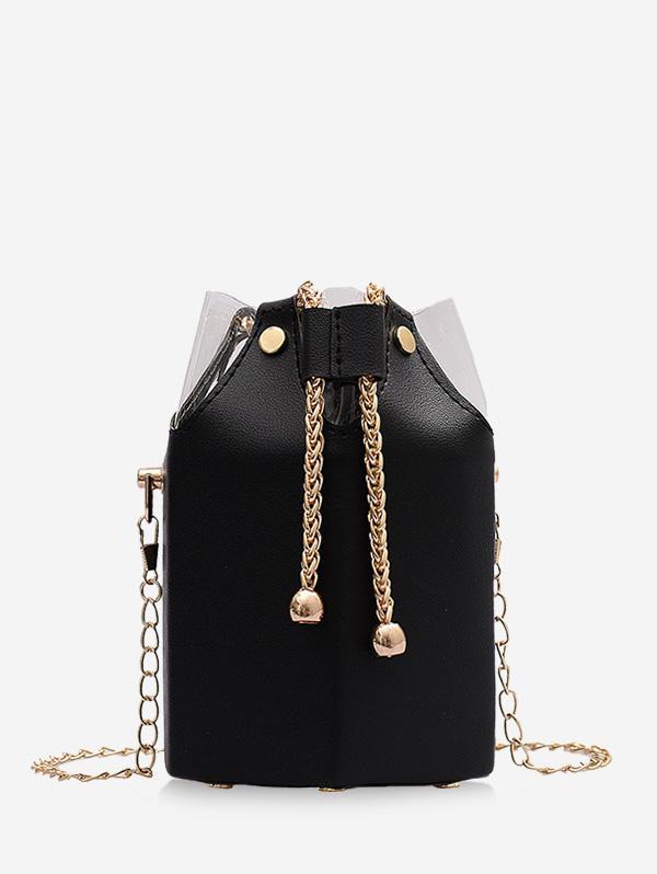 Chain Drawstring Crossbody Bucket Bag