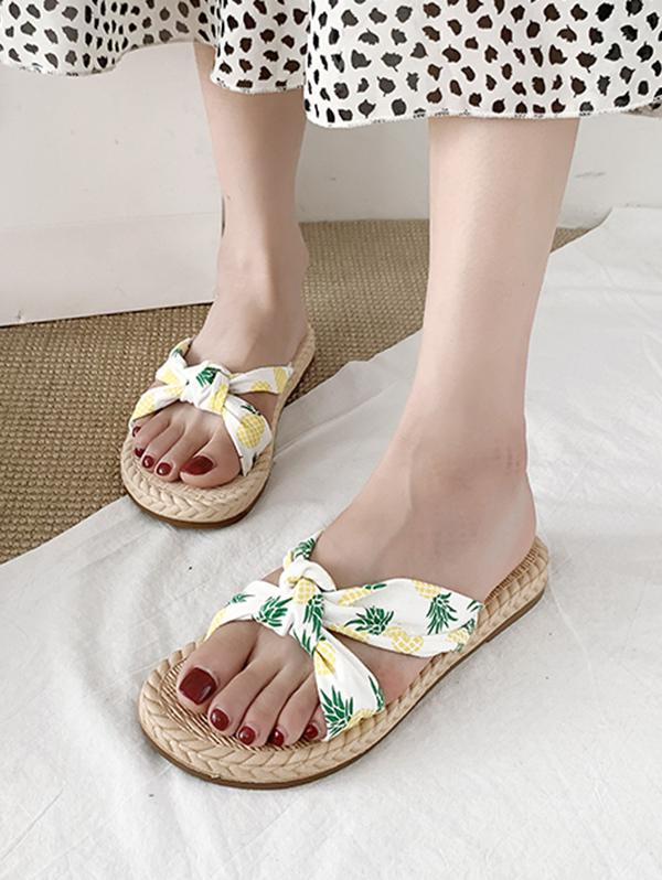Fruits Print Knotted Flat Slides