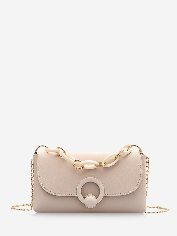 PU Chain Strap Small Solid Crossbody Bag
