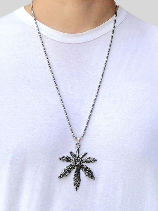 Titanium Steel Maple Pendant Necklace