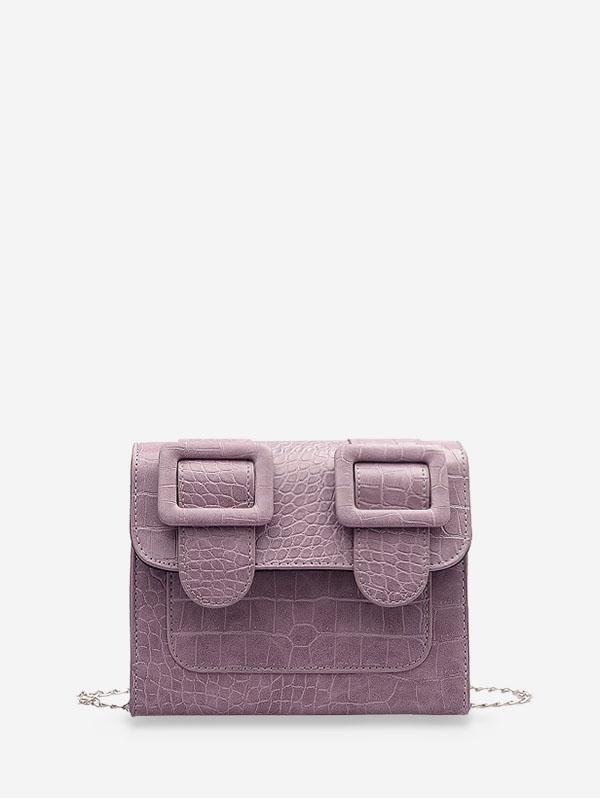 Textured Chain Square Satchel Bag