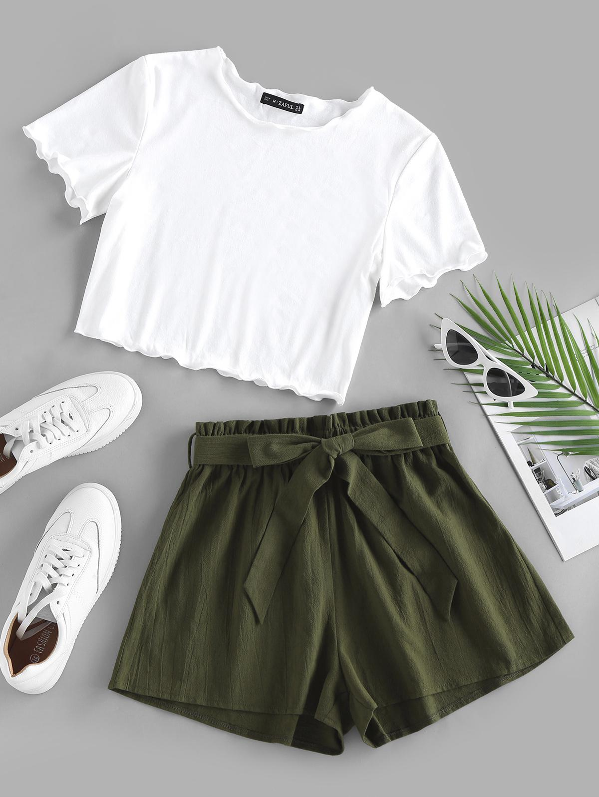 ZAFUL Lettuce Trim Tee and Belted Two Piece Shorts Set