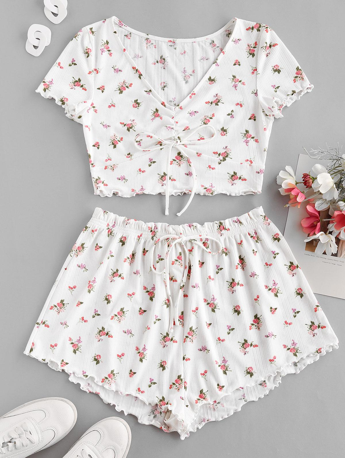 ZAFUL Floral Lettuce Trim Cinched Ruffle Ribbed Shorts Set