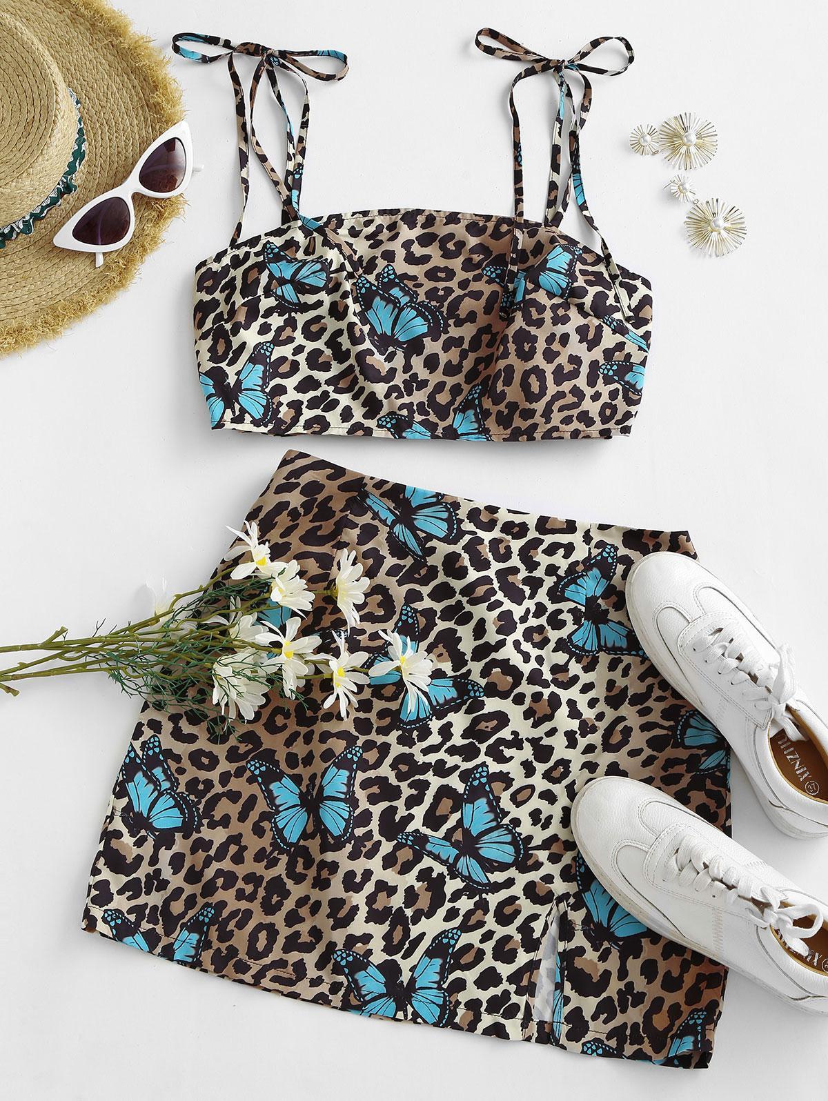 ZAFUL Leopard Butterfly Print Crop Top and Slit Skirt Set