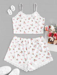 Flower Ribbed Shorts Set