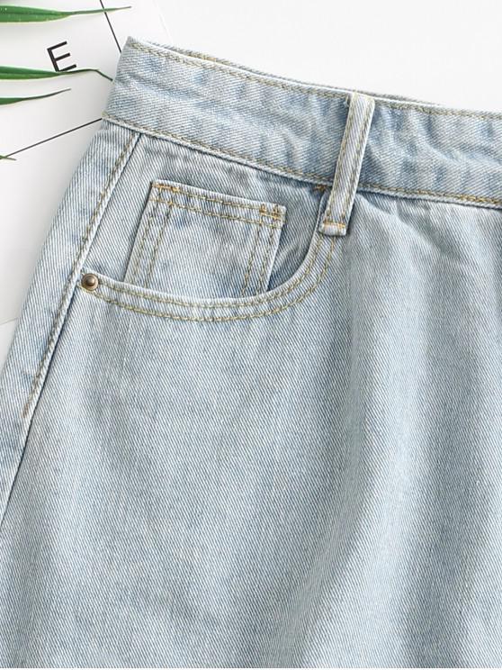 Distressed Pocket Zipper Fly Denim Skirt - Light Blue S   ZAFUL