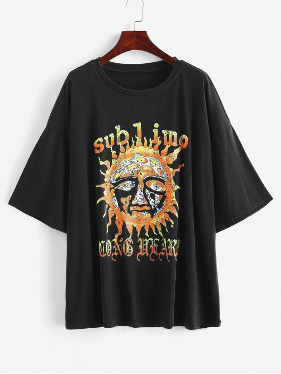 sale Sun Print Loose Longline Tee - BLACK S