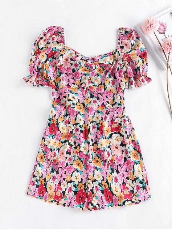 women's ZAFUL Smocked Puff Sleeve Floral Romper - LIGHT PINK S