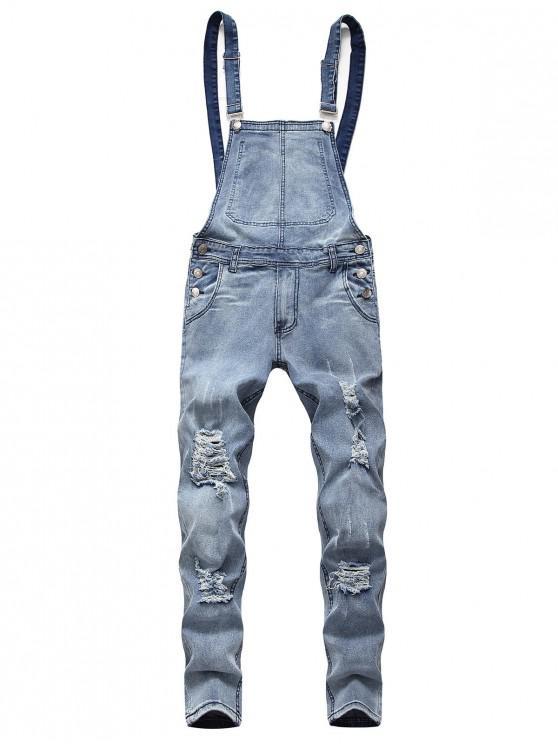 Solid Color Ripped Zipper Denim Overalls - أزرق فاتح 3XL