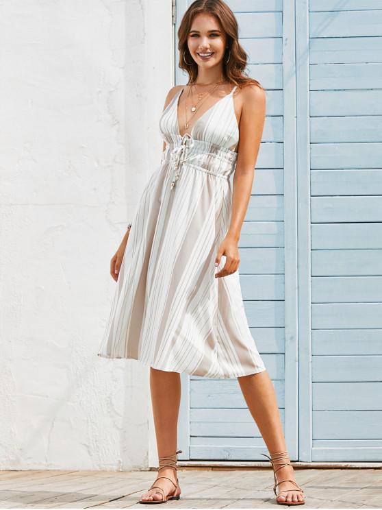 sale Tie Front Stripes Open Back Cami Dress - LIGHT COFFEE L