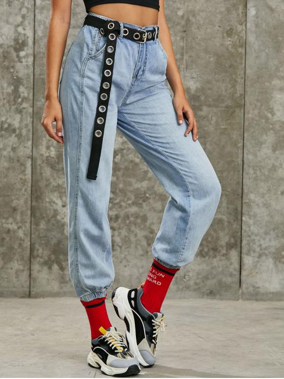 Zip Fly High Waisted Pocket Jogger Jeans - أزرق S