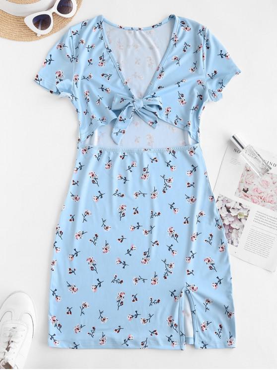 unique Tiny Floral Tie Front Cut Out Slit Mini Dress - LIGHT BLUE S