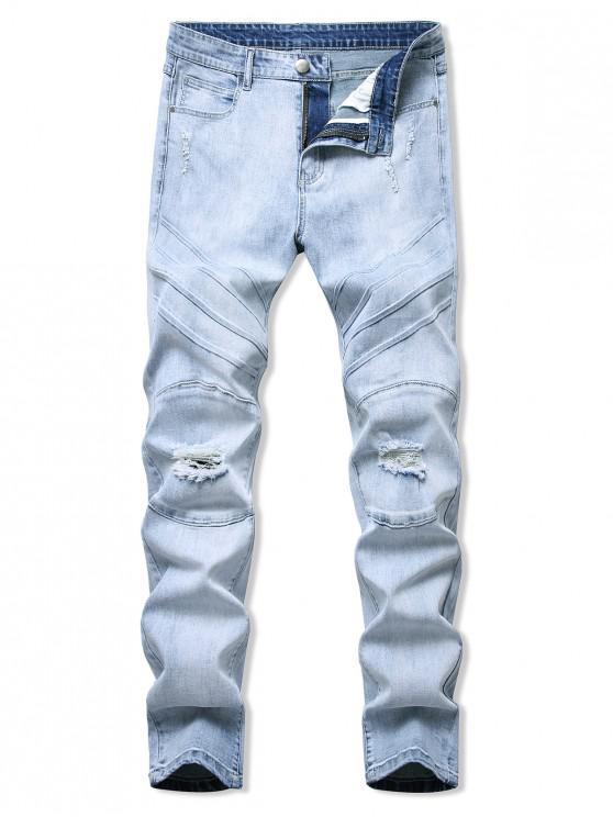 Jeans Ajustado y Desgarrado - Azul claro 34