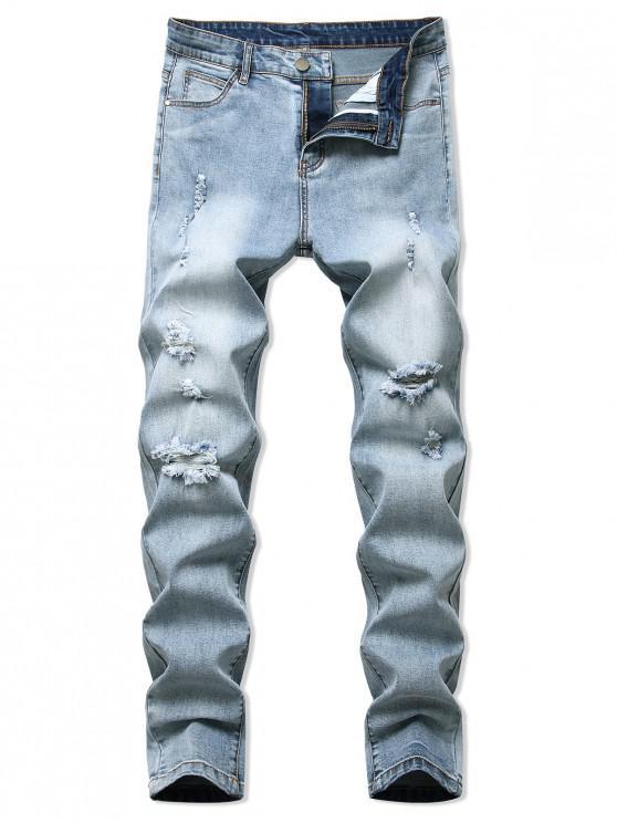 Jeans Rasgado y Deslavado - Azul claro 32