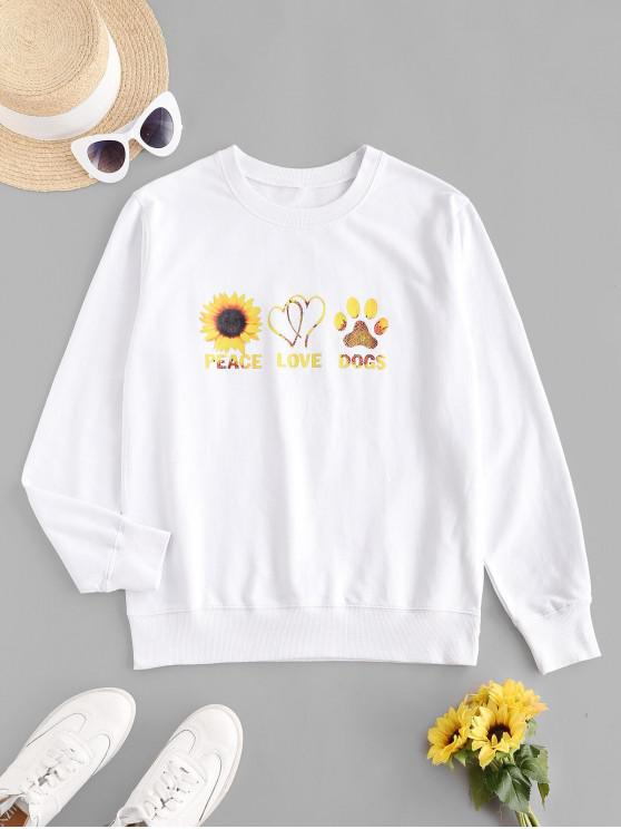 best Sunflower Graphic French Terry Sweatshirt - WHITE M