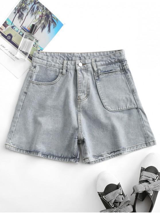 sale Denim Wide Leg High Waisted Shorts - LIGHT BLUE L