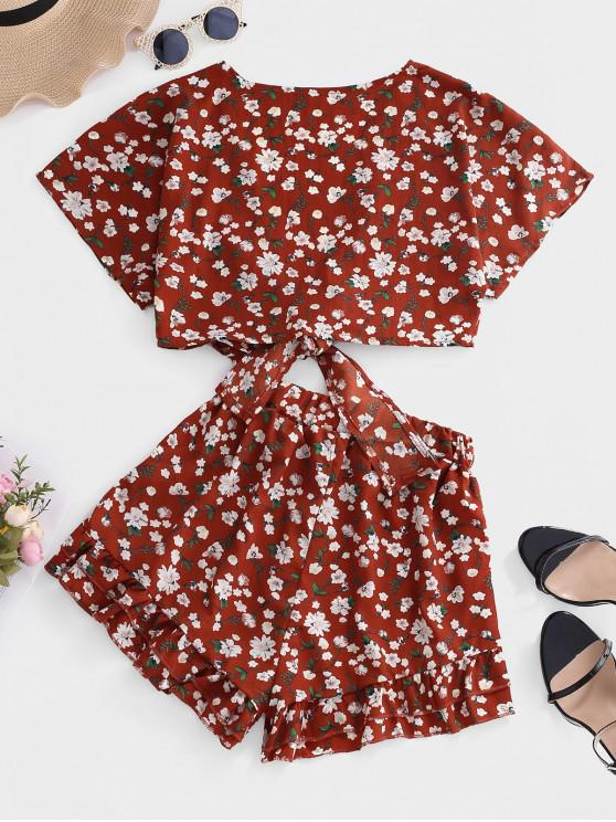 Ditsy Floral Knotted Ruffle Two Piece Set - Red M   ZAFUL