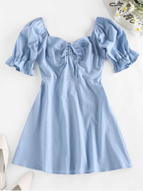 shops ZAFUL Cinched Mini Flare Dress - LIGHT BLUE M