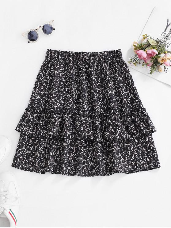 fancy Ditsy Floral Flounce Frilled Mini Skirt - BLACK S