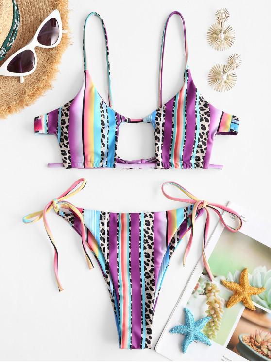 fancy ZAFUL Leopard Panel Striped Cutout Tie Tanga Bikini Swimwear - MULTI M