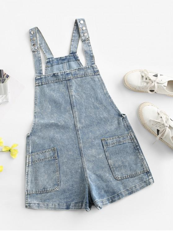 fashion Pockets Snap Button Denim Overalls Romper - LIGHT BLUE L