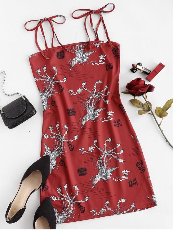 Vestido Ajustado Al Hombro con Lazo - Rojo L