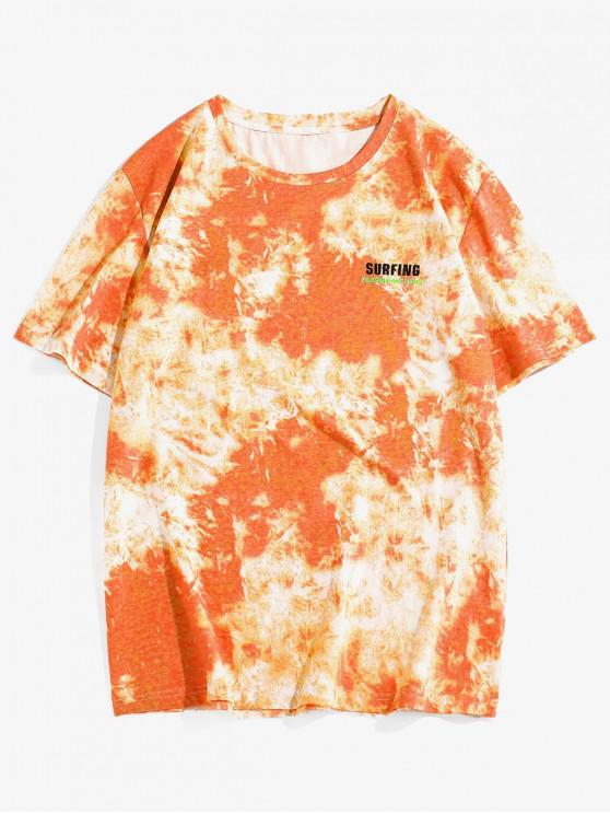 ZAFUL Tie Dye Printing Short Sleeves T-shirt - برتقالي قاتم 2XL