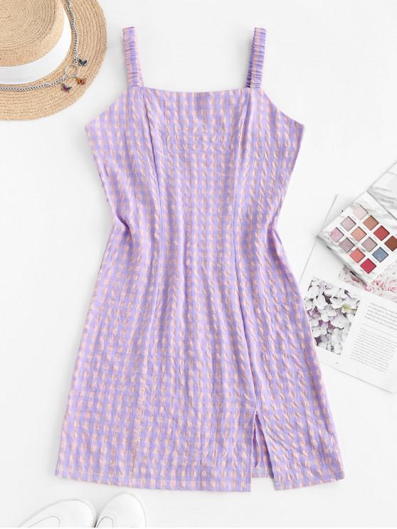 ladies Front Slit Plaid Smocked Back Mini Dress - LIGHT PURPLE M