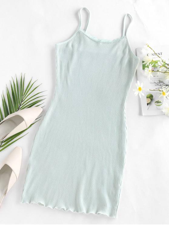 outfit ZAFUL Ribbed Mini Bodycon Dress - LIGHT GREEN M