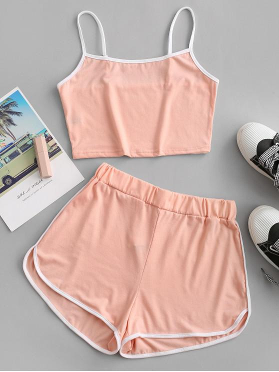 hot ZAFUL Ringer Sporty Cami Top And Dolphin Shorts Set - LIGHT PINK L