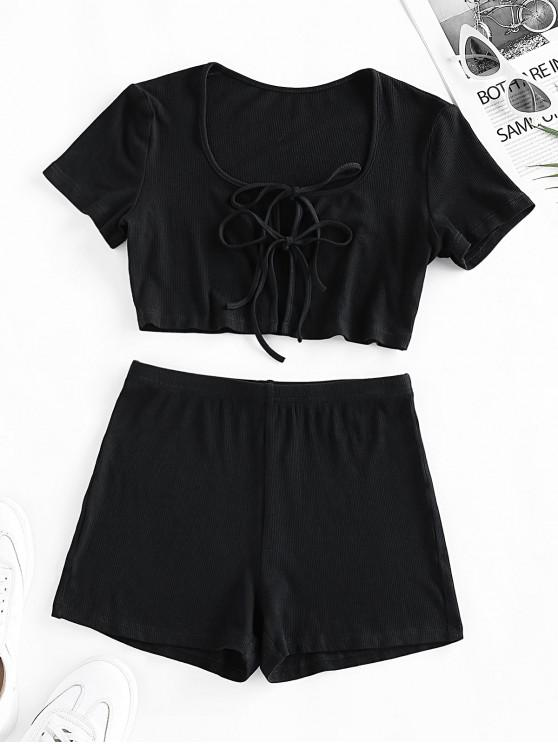 trendy ZAFUL Tie Front High Waisted Ribbed Shorts Set - BLACK S