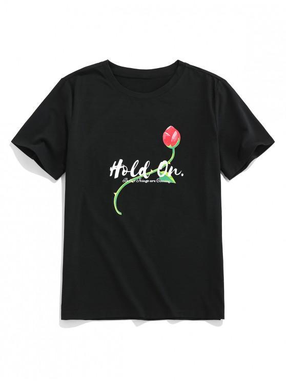 women ZAFUL Hold On Flower Print Basic T Shirt - BLACK L