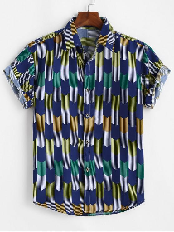 fancy Stripes Geometric Curved Hem Shirt - COBALT BLUE 3XL