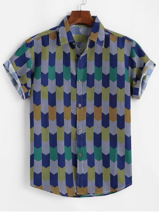 Camisa a Rayas Geométricas - Azul Cobalto L