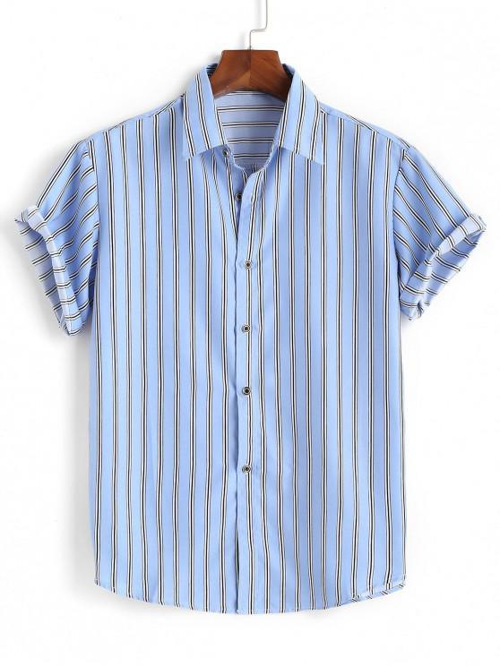Gestreiftes Hemd mit Kurzen Ärmeln - Hellblau 3XL