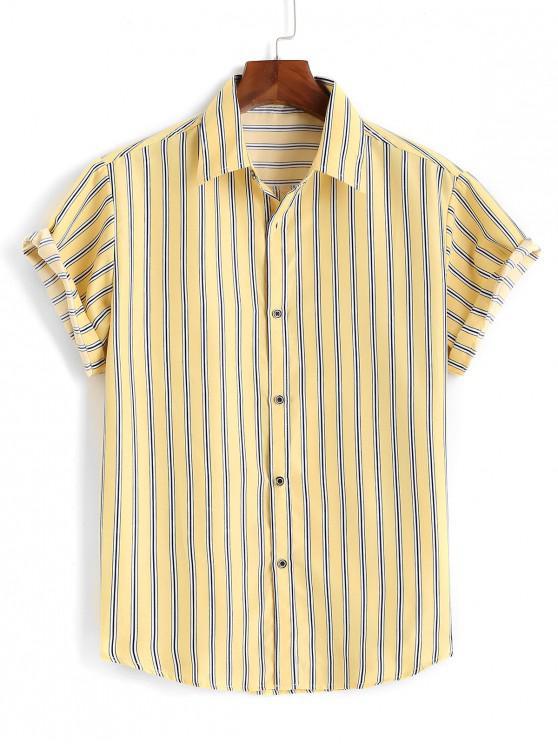 Camisa Rayada Manga Corta - Amarillo M