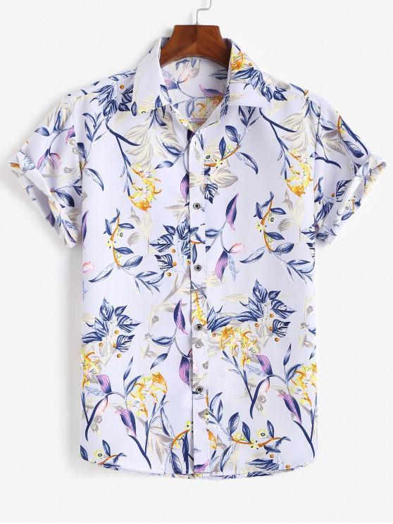 shops Flower Print Short Sleeve Button Up Shirt - LIGHT PURPLE 2XL